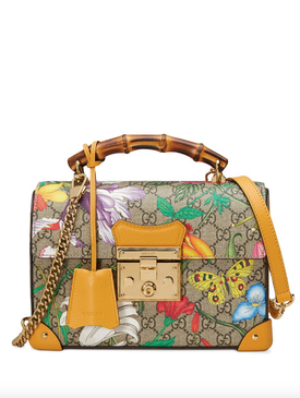 shoulder bag with Flora print and GG pattern